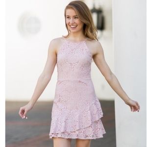 The Impeccable Pig blush pink lace ruffle hem dres
